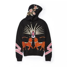 Wholesale Rays Hoodie - 2018 Men Italian Fashion Tiger Pattern Hoodie Luxury Gold Thread Embroidered Rays Design Hip Hop Style Cotton Sweatshirt Pullover Streetwear