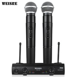 Wholesale Vhf Microphone System - Professional WEISRE PGX58 Wireless System Dual Handheld 2 x Mic Cordless Receiverfor Karaoke Party KTV VHF Microphone