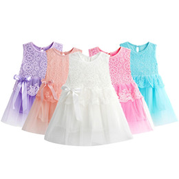 Wholesale Cute Baby Girl Party Dresses - Hot New Infant Baby Girl Tutu Dress vestidos Kids Cute Lace Flower Summer Party Princess Dresses baby girl Christmas Clothes Z3