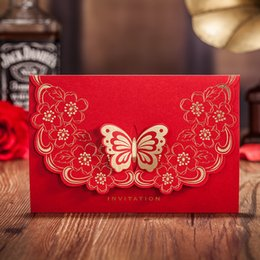 Wholesale Happiness Cards - Wholesale- Chinese Style Red Wedding Invitation Card, Fashion 3D Butterfly Red Happiness Wedding invitation Card, CW5520 Personalizable