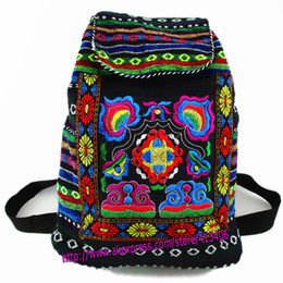 Wholesale Indian Women Bags - Wholesale- Tribal Vintage Hmong Thai Indian Ethnic Embroidery Bohemian Boho rucksack Boho hippie ethnic bag backpack bag L size SYS-170