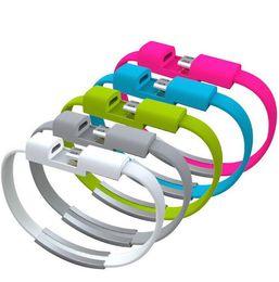 Wholesale Iphone Noodle 5s - 22cm Portable Noodle Usb Charger Cable Sync Data Bracelet Wrist Band Charger for Apple IPhone 5 5c 5s 6 Samsung Galaxy HTC LG 100pcs lot