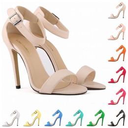 Wholesale Sandals Bridal Open Toe Dress - Womens Sandals 11cm Open Toe Ankle Straps Sandals High Heels Summer Bridal Patent Leather Pumps Sapatos Femininos Sandalias D0091
