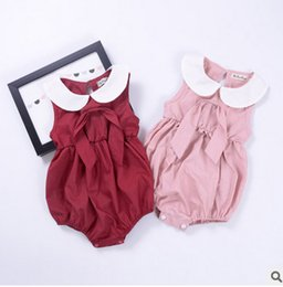 Wholesale Pink Doll Clothes - Baby Girls romper INS toddler kids doll collar romper infant bows jumpsuit 2017 summer fashion new kids climb clothes T2249 red pink