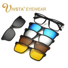 Wholesale Prescription Polarized Lenses - Wholesale-IVSTA Magnet Sunglasses Clip Magnetic Mirrored Clip on Glasses Men Flip Polarized Myopia Custom Prescription Lenses Optical 2202