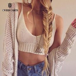 Wholesale Vintage Beach Tank Tops - Wholesale-Sexy Crochet Knit Crop Top Women Deep V Neck Spaghetti Straps Tank Top Cropped VIntage Beach Wear Women Tops Black White Coffee
