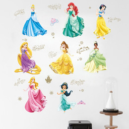 Wholesale Decorative Pvc Wallpaper - New Removable PVC Cartoon Snow White Princess Wall Sticker for Girls Kids Room Decorative Wall Decal Home Decoration Wall Art Wallpaper