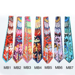Wholesale Gift Bags Ties - Wholesale- 7color new slender feathers printed scarf tied bag small narrow ribbon tied bag multifunction women scarves scarf Ms.twilly gift