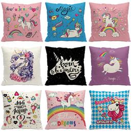 Wholesale European Sofas - Flax Cushion Cover Home Sofa Decor Pillowslip European Style Unicorn Printing Pillow Case For Many Styles 7 5yl C R