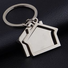 Wholesale Pillar Plate - FREE SHIPPING BY DHL 100pcs lot 2017 Zinc Alloy House Shaped Keychains Novelty Keyrings Gifts for Promotion