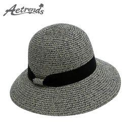 Wholesale Travel Straw Hats For Women - Wholesale- [AETRENDS] 2017 Summer Straw Hats for Women Beach Hat Travel Panama Cap Z-5132