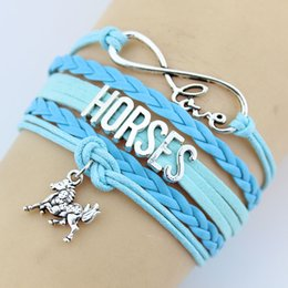 Wholesale Horse Bracelets Jewelry - Fashion Charms Leather Bracelets Horse Bangles 4 colors Infinity Love Horse Bracelets party dress jewelry