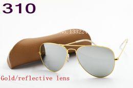 Wholesale Large Lens Glasses - 1pcs High quality Classic Pilot Sunglasses Designer Large Metal Sun Glasses For Men Women Silver Mirror 58mm 62mm Glass Lenses UV Protection