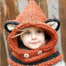 Wholesale Boys Winter Caps Hats - High Quality 50Pcs Fox Baby Hats Autumn Winter Caps Kids Girls Boys Warm Woolen Knitted Coif Hood Scarf Beanies free shipping