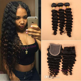 Wholesale 32 Brazillian Hair - 8A Mink Brazilian Deep Wave With Closure 3 Bundles Curly Wavy Human Hair With Lace Closures Virgin Brazillian Hair And Closure
