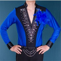 Wholesale Samba Shirts - 6Color HOT SALE Men's T-shirt Adult Latin Samba Stage Performance Costume Top Boy Modern Waltz Tango Sexy V-neck Diamond T-shirt