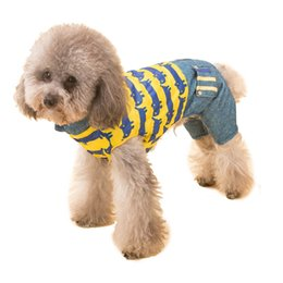 Wholesale Dog Leg Warmer - Small Dog Hooded Clothes Warm Fall Winter Pet Clothing Jumper Four Legs Thick Cotton Clothes Jumpsuits Lapel Hoody Costume