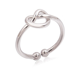 Wholesale Simple Rings For Girls - Wholesale Infinity Knot Ring Simple Knuckle Heart Knot Rings For Women Girl Wedding & Engagement Jewelry Gift