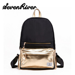 Wholesale Mini Pocket Book - Wholesale- Unique Design Women Men Oxford Gold Sliver Backpack Unisex Travel Bag Teenagers School Book Bag SchoolBag