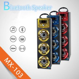 Wholesale Home Speakers Portable - Wireless Bluetooth Speaker MX103 Big Outdoor Bluetooth Speaker With LED Light Support TF Card FM For Stage Home Theatre KTV