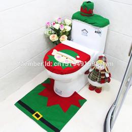 Wholesale Noel Christmas Ornament - Wholesale-3pcs set Santa Claus Toilet Seat Cover Bathroom Four Sets Rug Christmas Cartoon Decorations for Home Papai Noel Navidad x003