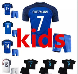 Wholesale White Football Jerseys Kids - 2017 2018 kids France home away 3rd black soccer Jerseys set 17 18 youth GRIEZMANN POGBA Children Jersey Giroud white child Football shirt