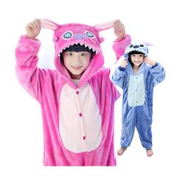 Wholesale Girls Sleeveless Onesie - cute kids one-piece pajamas lovely cartoon stitch style sleepwear for 3-10yrs chilren boys girls onesie pajamas night clothes