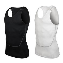 Wholesale Men Under Vest - Wholesale- Men Under Shirt Skin Body Compression Elastic Base Layer Tank Top Vest Sportwear