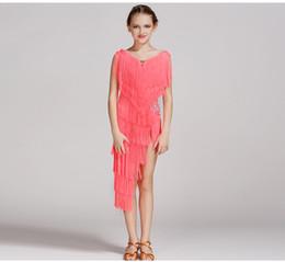 Wholesale Tassel Dance Dresses For Kids - 5 colors pink modern dance dress for girls dance competition latin salsa dress latin dance dress tassel kids latin dancewear samba