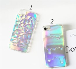 Wholesale Melt Ice Cream Cases - For iphone 6 6s Plus 7 7 Plus 2 in 1 Hologram 3D Case Geometric Diamond Melt Ice Cream Holographic Laser Rainbow TPU Back Cover