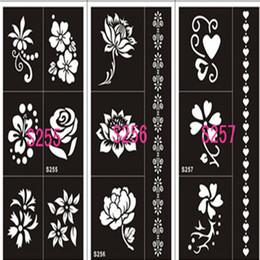 2019 kits de tatuagens temporárias de aerógrafo Atacado-1Sheet 17Style Hand-Painted molde oco Inkjet Tattoo Henna modelos de adesivos para ferramentas de bricolage profissional novo corpo pintura Kit