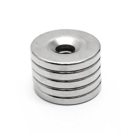 Wholesale N35 Rare Earth - 10pcs 20 x 3 mm Hole 5mm N35 Super Strong Permanet Round Neodymium Countersunk Ring Magnet Rare Earth Magnets