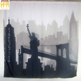 Wholesale Statue Printing - 180*180Cm Shower Curtains Bath Curtain The Statue Of Liberty Printing Polyester Bathroom Shower Curtains Waterproof Bath Curtain