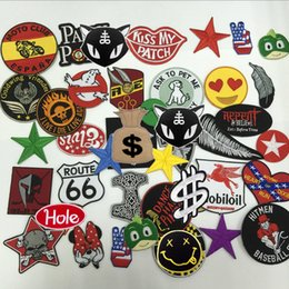Wholesale Mixed Numbers - Hot Iron Badge Embroidery Patch 24pcs Cloth Decoration Label Mix model National Flag Number Assorted Random Shipments