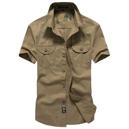 Wholesale Men S Cargo Shirts - Wholesale- 2017 New Arrive Mens Cargo Shirt Men Casual Shirt Solid Short Sleeve Shirts Work Shirt Standard Cotton 60hfx