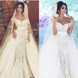 Wholesale Beach Portrait - Vintage Wedding Dresses 2017 Lace Overskirts Wedding Gowns 3D-Applique Beaded Tulle Portrait Bridal Dress With Detachable Train Arabic