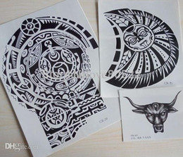 Wholesale Temporary Tattoo Chest - 3 sheets Tatuagem Dwayne Johnson Star 3D Big Size Large Temporary Tattoo Stickers for Men Chest and Shoulder Tattoos