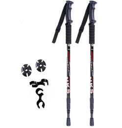 Wholesale Trekking Anti Shock Cane - 2Pcs lot Anti Shock Nordic Walking Sticks Telescopic Trekking Hiking Poles Ultralight Walking Canes With Rubber Tips Protectors