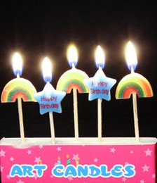 Wholesale Christmas Cakes Candles - Hot 5Pcs Happy Birthday Cartoon Party Cake Candle Candles Cake Topper Decorations
