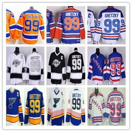 Wholesale Green Ranger Spandex - Edmonton #99 Wayne Gretzky Hockey Jersey Throwback CCM St. Louis Blues Los Angeles Kings New York Rangers Vintage Blue Orange White Black