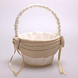 Wholesale Satin Flower Girl Baskets - Cheap Flower Girl Baskets for Weddings 2017 Hot Sale Beige & Champagne Satin Flower Basket Sets 14.5cm*22.5cm Fast Shipping