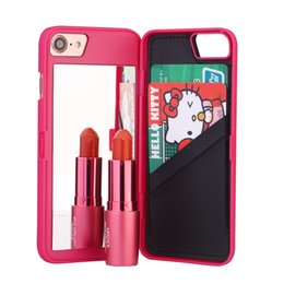 Wholesale High Fashion Iphone Cases - For Apple iPhone 8 Hot High Quality Luxury Fashion Lady PU Leather 3D Dual Layer Card Slot Wallet Mirror Case Back Cover