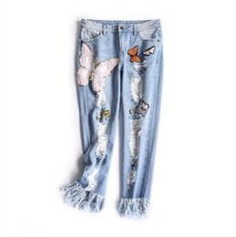 Wholesale Worn Out Jeans - Europe and the United States women's new winter 2016 Worn out show thin butterfly sequins loose nine points straight jeans