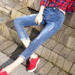 Wholesale Denim Women Casual Fashion Wear - 2017 Worn Hole Jeans For Women Casual Ripped Pencil Jeans With High Waist Summer Fashion Slim Women's Jeans Free Shipping