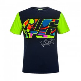 Wholesale T Shirts For Men Size - 2017 Valentino Rossi VR46 Moto GP Large 46 Signature Blue T shirt for Sports Motorcycle Racing