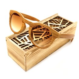 Wholesale Wood Boxes Cheap - Wholesale- BOBO BIRD Simple Design Handmade Imitative Bamboo Wood Fashion Tawny Lens Cheap Ladies Summer Beach Glasses With Wooden Box 2017