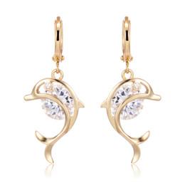 2019 jugendlich ohrringe Lovery Ohrring für Teen Mädchen 18K Gelbgold vergoldet Dolphin Design Hoops Ohrring für Frauen Freundin günstig jugendlich ohrringe