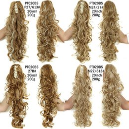 """Wholesale Dark Auburn Long Hair Extensions - Wholesale- Curly Ponytail Hairpieces 21"""" Long Fake Ponytails Claw Drawstring Pony Tail Afro False Hair Extensions Pieces Color Horse Tress"""