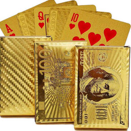 Wholesale Gold Foil Poker Cards - Poker Card Gold foil plated Playing Cards Plastic Waterproof High Quality US dollar Euro Style General style poke