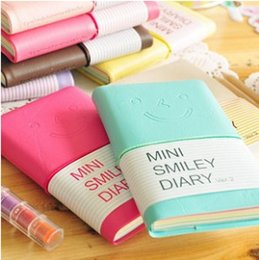 Wholesale Smiley Diary - Wholesale- Candy Colors Fashion Cute Charming Mini Portable Smile Smiley Paper Diary Notebook Memo nootbook